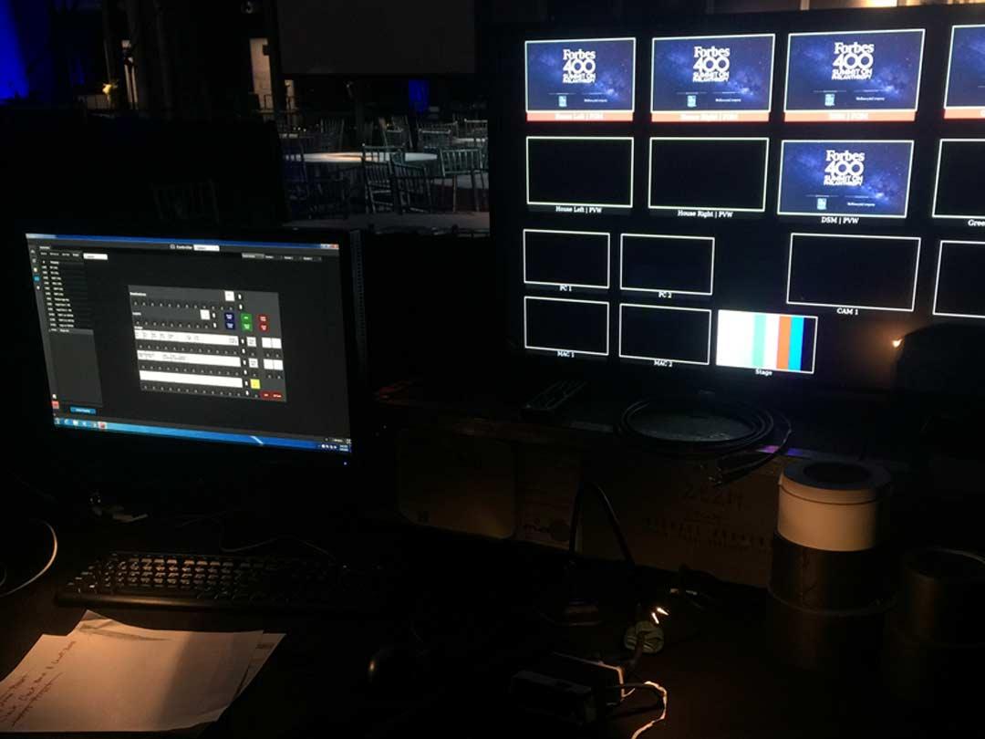 AV equipment with screens and comoputers