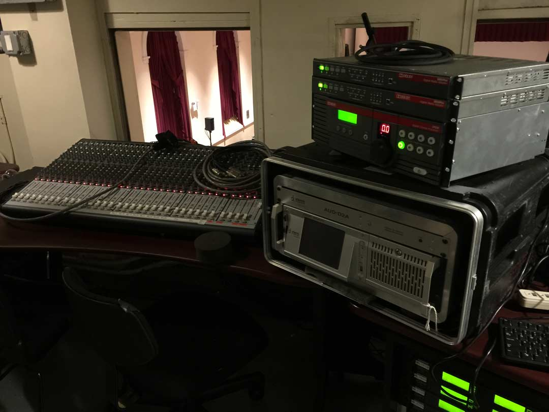 Professional A V equipment in movie room